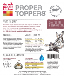 Honest Kitchen Proper Toppers Beef